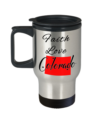 Image of Patriotic USA Gift Travel Mug With Lid Faith Love Colorado Unique Novelty Birthday Christmas Ceramic Coffee Tea Cup