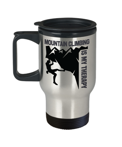 Mountain Climbing is My Therapy Travel Mug Gift Outdoor Adventure Lover Novelty Coffee Cup