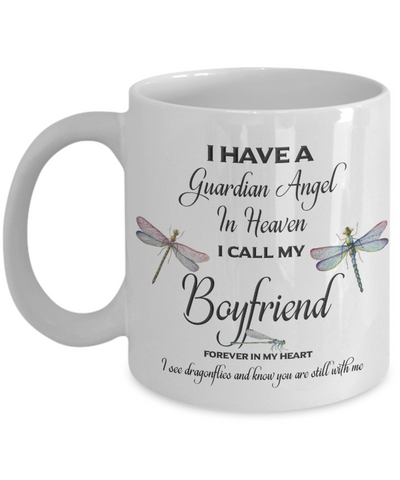Boyfriend Dragonfly Memorial Mug Guardian Angel In Loving Memory Memorial Gifts Ceramic Coffee Cup
