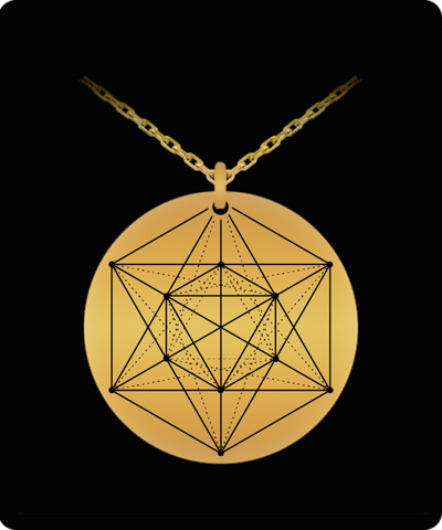 Hexagon Metatron Adaptation Pendant Sacred Geometry Laser Etched Gold Color Necklace