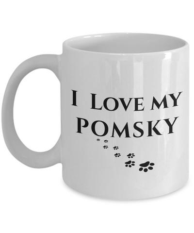 Image of I Love My Pomsky Mug Dog Mom Dad Lover Novelty Birthday Gifts Unique Work Ceramic Coffee Cup Gifts for Men Women