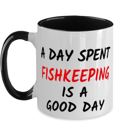 Fishkeeping Good Day Mug Two-Toned 11 oz Hobby Ceramic Coffee Cup