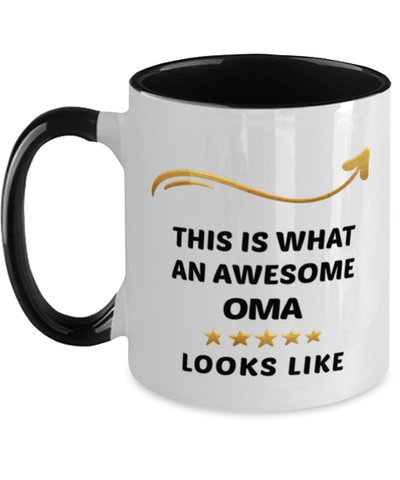 Image of Oma Mug  Awesome Person Looks Like 11 oz  Two-Toned Ceramic Coffee Cup