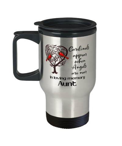 Aunt Memorial Cardinal Travel Mug In Loving Memory Mourning Keepsake Coffee Cup