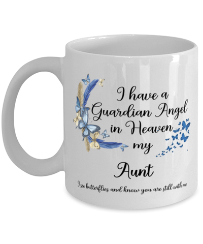Image of Aunt Guardian Angel Memorial Butterfly Mug In Loving Memory Mourning Keepsake 11 oz Cup
