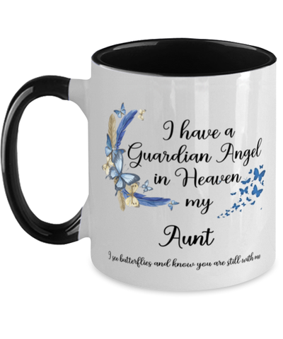 Aunt Guardian Angel Butterfly Memorial Mug In Loving Memory Mourning Keepsake 11 oz Two-Toned Cup