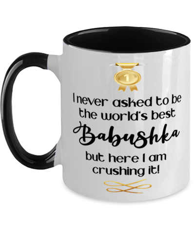 Babushka World's Best Mug Crushing it 11 oz Two-Toned Coffee Cup