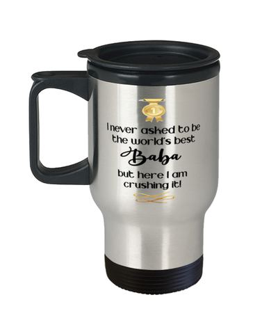 Baba World's Best Travel Mug Crushing it 14 oz Coffee Cup