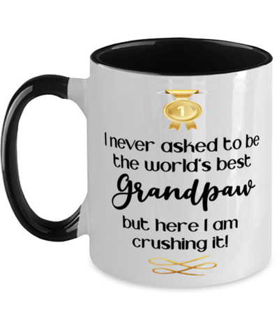 Image of Grandpaw World's Best Mug Crushing it 11 oz Two-Toned Coffee Cup