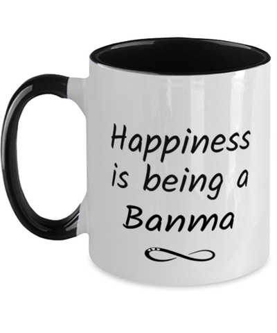 Banma Mug Happiness is Being 11oz Two-Toned Coffee Cup