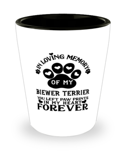 Biewer Terrier Dog Shot Glass Pet Memorial You Left Pawprints in My Heart Keepsake