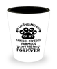 Danish-Swedish Farmdog Dog Shot Glass Pet Memorial You Left Pawprints in My Heart Keepsake