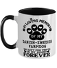 Danish-Swedish Farmdog Dog Mug Pet Memorial You Left Pawprints in My Heart Two-Toned Coffee Cup