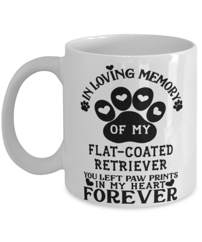 Image of Flat-Coated Retriever Dog Mug Pet Memorial You Left Pawprints in My Heart Coffee Cup