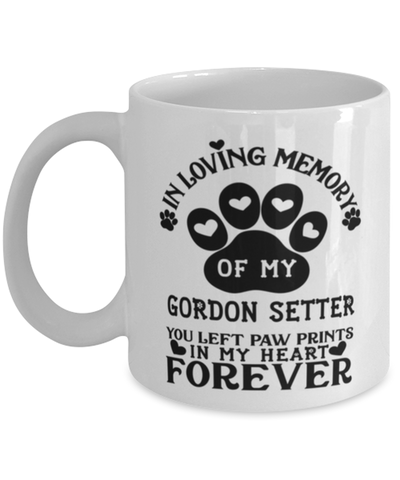 Image of Gordon Setter Dog Mug Pet Memorial You Left Pawprints in My Heart Coffee Cup