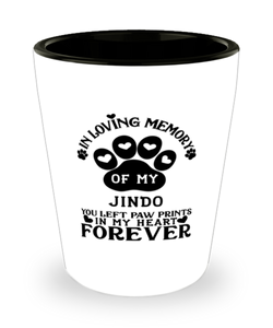 Jindo Dog Shot Glass Pet Memorial You Left Pawprints in My Heart Keepsake