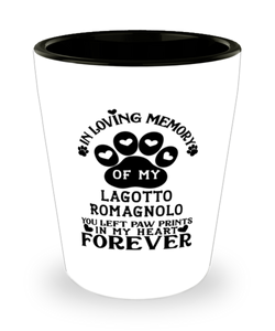 Lagotto Romagnolo Dog Shot Glass Pet Memorial You Left Pawprints in My Heart Keepsake