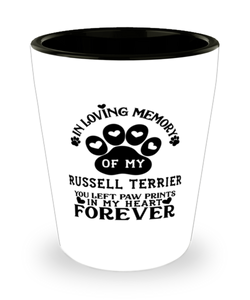Russell Terrier Dog Shot Glass Pet Memorial You Left Pawprints in My Heart Keepsake