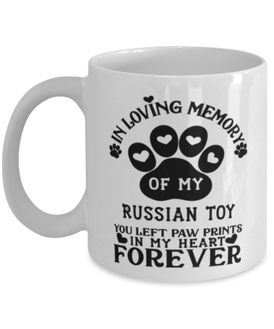 Image of Russian Toy Dog Mug Pet Memorial You Left Pawprints in My Heart Coffee Cup