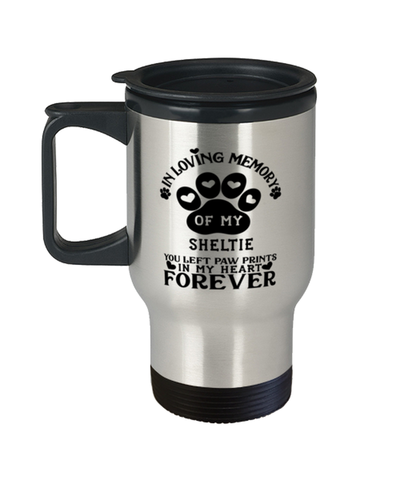 Image of Sheltie Dog Travel Mug Pet Memorial You Left Pawprints in My Heart Coffee Cup