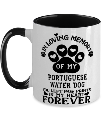 Image of Portuguese Water Dog Dog Mug Pet Memorial You Left Pawprints in My Heart Two-Toned Coffee Cup