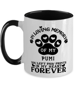 Pumi Dog Mug Pet Memorial You Left Pawprints in My Heart Two-Toned Coffee Cup