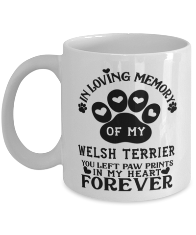 Image of Welsh Terrier Dog Mug Pet Memorial You Left Pawprints in My Heart Coffee Cup