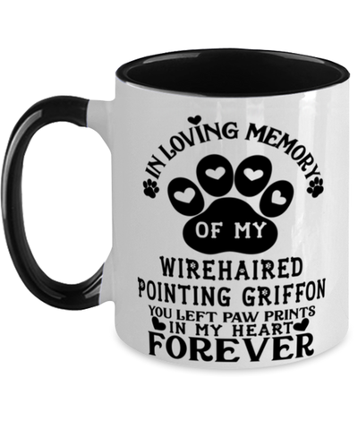 Image of Wirehaired Pointing Griffon Dog Mug Pet Memorial You Left Pawprints in My Heart Two-Toned Coffee Cup