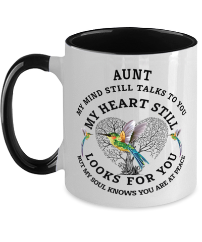 Image of Aunt In Loving Memory Mug Hummingbird My Mind Talks To You Memorial Keepsake Two-Toned Cup