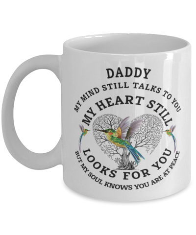 Image of Daddy In Loving Memory Mug Hummingbird My Mind Talks To You Memorial Keepsake Cup