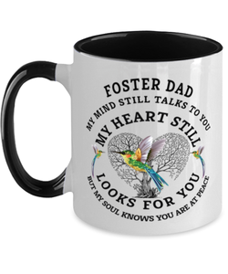 Foster Dad In Loving Memory Mug Hummingbird My Mind Talks To You Memorial Keepsake Two-Toned Cup