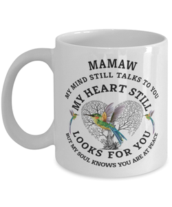 Mamaw In Loving Memory Mug Hummingbird My Mind Talks To You Memorial Keepsake Cup
