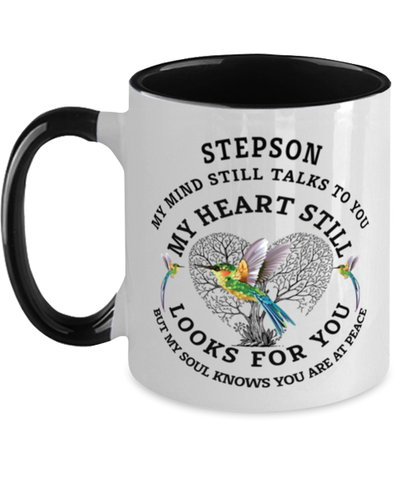 Image of Stepson In Loving Memory Mug Hummingbird My Mind Talks To You Memorial Keepsake Two-Toned Cup