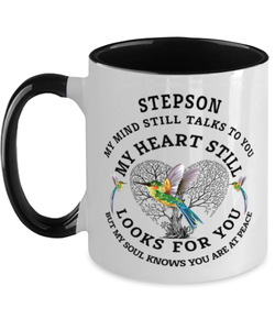 Stepson In Loving Memory Mug Hummingbird My Mind Talks To You Memorial Keepsake Two-Toned Cup
