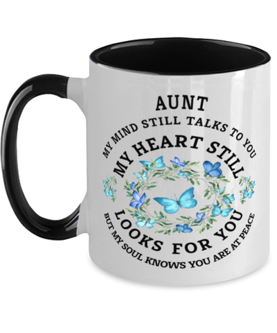 Aunt In Loving Memory Mug Butterfly My Mind Talks To You Memorial Keepsake Two-Toned Cup