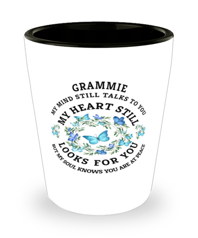 Grammie In Loving Memory Shot Glass Butterfly My Mind Talks To You Memorial Keepsake