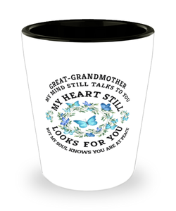 Great-Grandmother In Loving Memory Shot Glass Butterfly My Mind Talks To You Memorial Keepsake