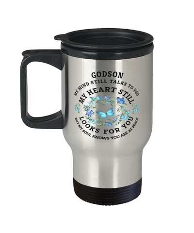 Godson In Loving Memory Travel Mug Butterfly My Mind Talks To You Memorial Keepsake Cup