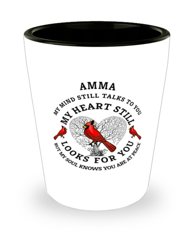 Amma In Loving Memory Shot Glass Cardinal My Mind Talks To You Memorial Keepsake