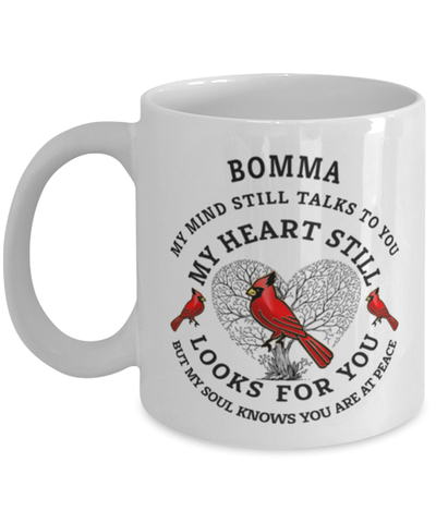 Image of Bomma In Loving Memory Mug Cardinal My Mind Talks To You Memorial Keepsake Cup