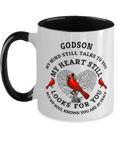 Godson In Loving Memory Mug Cardinal My Mind Talks To You Memorial Keepsake Two-Toned Cup