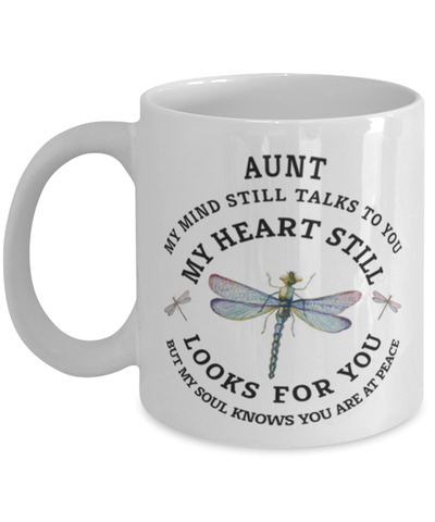 Image of Aunt In Loving Memory Mug Dragonfly My Mind Talks To You Memorial Keepsake Cup
