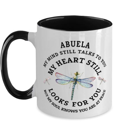 Abuela In Loving Memory Mug Dragonfly My Mind Talks To You Memorial Keepsake Two-Toned Cup