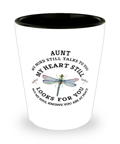 Aunt In Loving Memory Shot Glass Dragonfly My Mind Talks To You Memorial Keepsake
