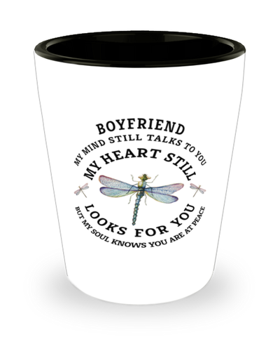 Boyfriend In Loving Memory Shot Glass Dragonfly My Mind Talks To You Memorial Keepsake