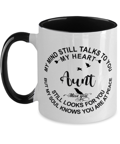 Aunt Loving Memory Mug My Mind Talks To You Remembrance Keepsake Two-Toned 11oz Cup
