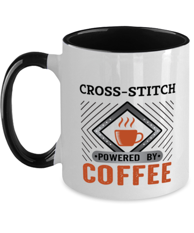 Image of Cross-stitch Mug Powered by Coffee Hobby Two-Toned 11 oz Cup