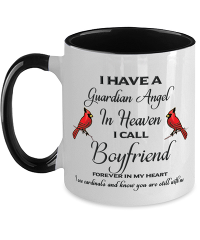 Image of Boyfriend Memorial Cardinal Mug Guardian Angel Remembrance Two-Tone Sympathy Cup