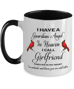Girlfriend Memorial Cardinal Mug Guardian Angel Remembrance Two-Tone Sympathy Cup