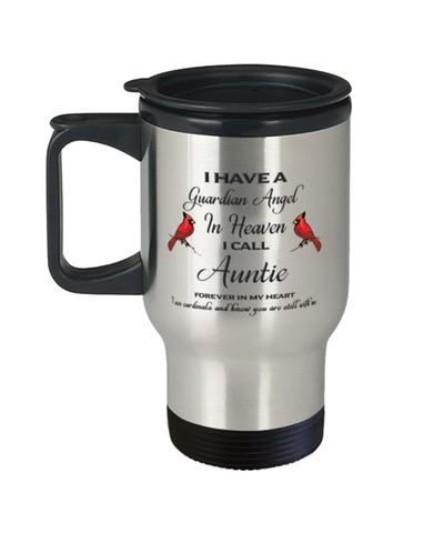 Auntie Memorial Cardinal Travel Mug Guardian Angel Remembrance Sympathy Cup
